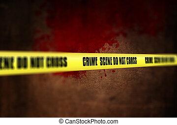 3D police line tape against defocussed blood splatter...
