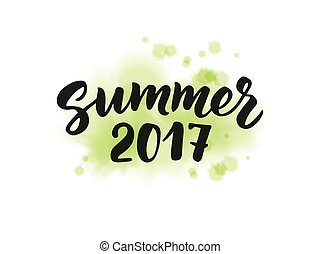 Summer 2017 text, hand drawn brush lettering. Summer label...