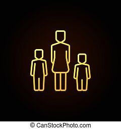 Yellow mother with two kids icon - v - vector colorful...
