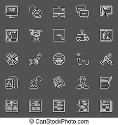 Vector news icons set. Newspaper, microphone, reporters and...