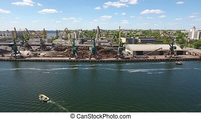 Aerial shot of Kherson port on the bank of the Dnipro in a...