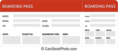 Red boarding pass - Airplane boarding pass. Red ticket...