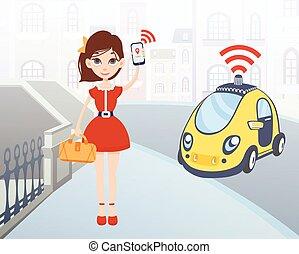 taxi, ciudad,  smartphone, mujer, Ilustración,  driverless, Ordenar, aplicación, carácter,  vector, móvil, calle, Plano de fondo, hembra, coche, Utilizar, caricatura