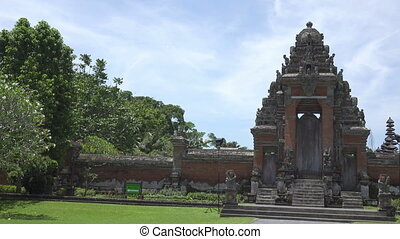 Taman Ayun Temple Bali Indonesia,it is constructed in 1634, the Panoramic view in sunny day