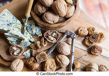 gourmet cheese tray snack - dried figs, walnuts and blue...