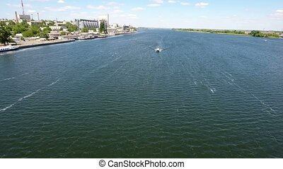 Aerial shot of the Dnipro and its riverbanks in Kherson...