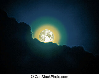 super moon in the night sky, Elements of this image...