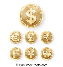 Gold Coins Set Vector. Realistic Money Sign Illustration....