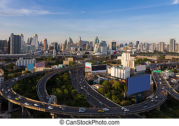 Bangkok city central business downtown and highway...