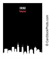 White silhouette chicago urban skyline on black background.