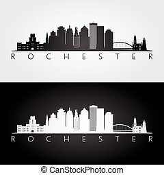 Rochester USA skyline and landmarks silhouette, black and...