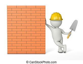 Bricklayer, White 3D Character with Hard Hat and Trowel Work...