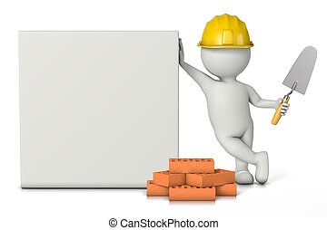 Bricklayer, White 3D Character with Hard Hat, Bricks and...
