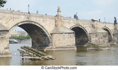 Charles Bridge in Prague on Vltava