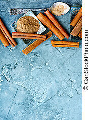 cinnamon on the table, dry cinnamon and powder