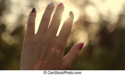 Sun rays through a woman's hand