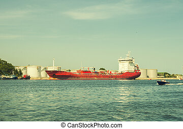 crude red oil tanker loading in the port