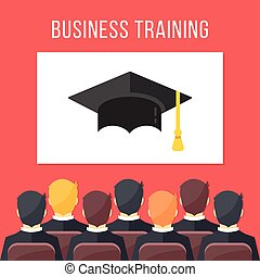 Business training. Businessmen sitting in conference hall, white board with mortarboard. Business education concept. Flat design vector illustration