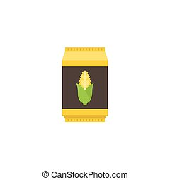 Corn starch in paper package, flat design icon