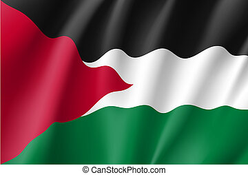 flag of Palestine state. - Waving flag of Palestine -...