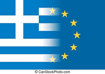 Greece national flag with a star circle of EU