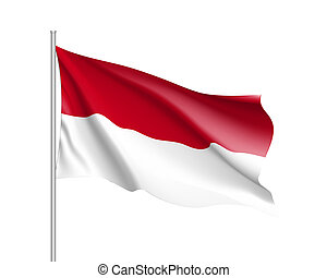 National flag of Indonesian Republic - Waving flag of...