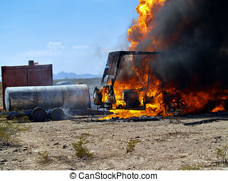 RV Fire - An out of control RV Fire in a remote area of...