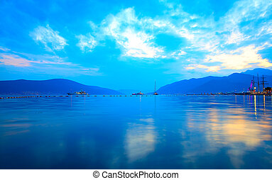 The Bay of Kotor near Tivat at sundown, Montenegro