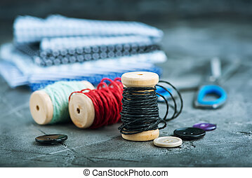 threads - color threads on a table,stock photo