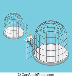 Isometric businessman leave small cage go to the bigger...