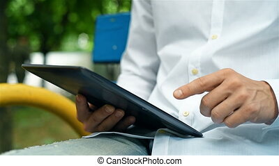 Man Working On Digital Tablet - Hipster Man Working On...