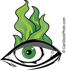 The All Seeing Eye - Green Firey Flame Illuminati...