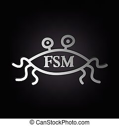 Flying Spaghetti Monster - Atheism Satyr God Parody Vector...