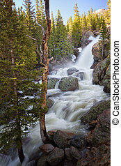 Alberta Falls in Rocky Mountain National Park - Spring snow...