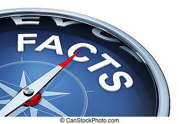 facts - 3D rendering of a compass with the word facts