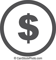 Dollar icon in black on a white background. Vector illustration