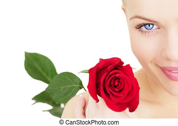 Beautiful girl with a red rose on white background