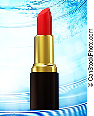 Red lipstick on blue bokeh background. 3d rendering
