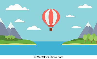 View of a hot air balloon flying over the sea between the two islands, mountains, trees and snow - vector
