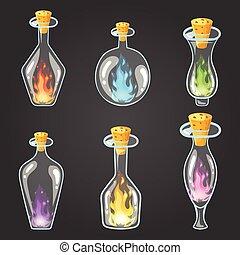 Big set of bottle elixir with flame. Game design...