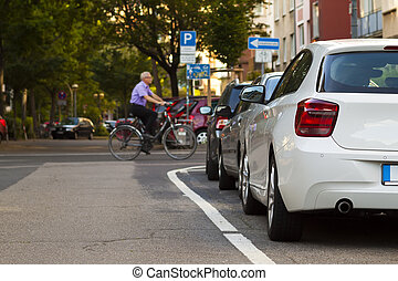 Parked car in the city. Traffic concept.