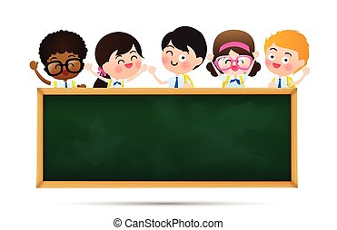 Back to school and education concept Happy cartoon kids in student uniform behind black board with copy space over white background vector illustration eps10