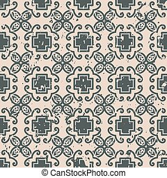 Abstract vintage ornamental pattern with fading and scratches, paint splashes. Vector template can be used for design of wallpaper, fabric, oilcloth, textile, wrapping paper and other design