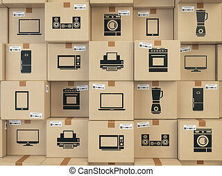 Household kitchen appliances and home electronics in boxes . E-commerce, internet online shopping and delivery concept.
