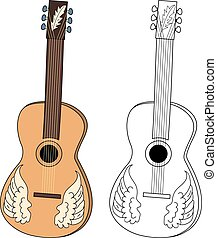 Acoustic guitar. Two musical instrument: color and black and...