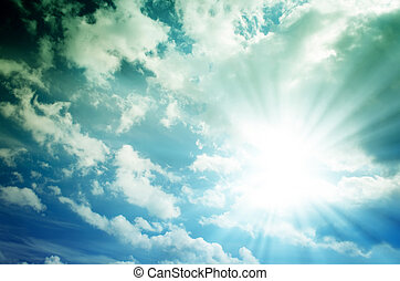 Bright sun with blue rays