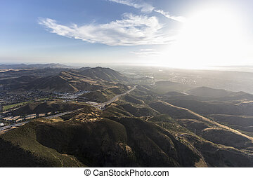 Ventura Freeway at Conejo Grade Southern California Aerial