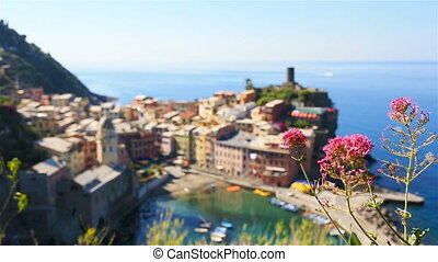 Beautiful view of Vernazza from above. One of five famous...