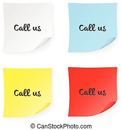 Stick note call us on a white background. Vector...