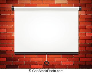 Projection screen on brick wall - Projection screen on a...
